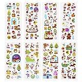 LUTER 3D Puffy Stickers Weihnachtsthema, einschließlich Weihnachtsbaum, Weihnachtsmann, Rentier, Schneemann, Schneeflocken 3D-Aufkleber für Kinder