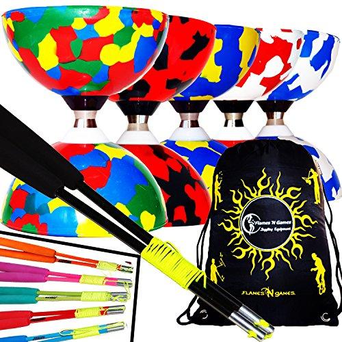 JESTER Kogellager Pro Diabolo Set + Gekleurd Fiber Diabolostokken , Diablo Koord + Diabolos Reistas. (Veelkleurig + Zwart Fiber Handstokken)