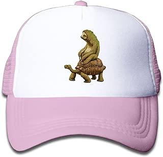 NO4LRM Kid's Boys Girls Sloth Riding Tortoise Youth Mesh Baseball Cap Summer Adjustable Trucker Hat
