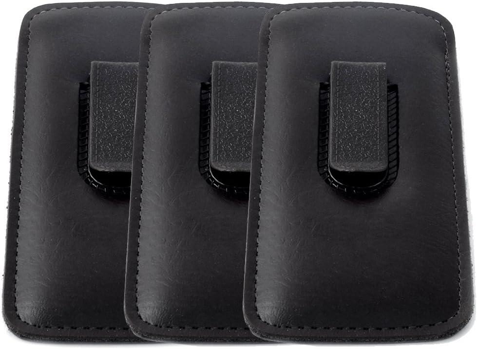 Mens Half Slip w/Clip Soft Eyeglass Case, Black (3 PACK)