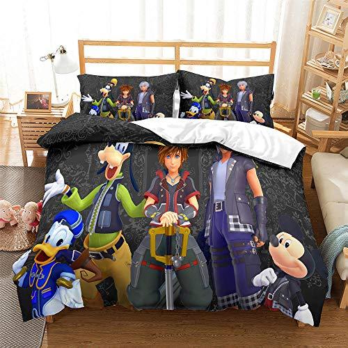 Juego De Ropa De Cama para niños 3D Anime, Corazones del Reino Cartoon Funda De Edredón 200 x 200 cm, Microfibra Funda nórdica Muy Suave Hipoalergénica, para Adolescentes niños y niñas