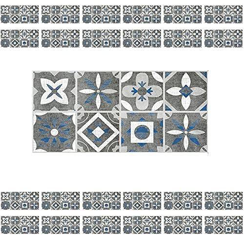 HUSTLE Vinilo Decorativo Mosaico 24 Piezas Azulejo Pegatinas, Etiquetas Autoadhesivas para Azulejos, Impermeable Adhesivo para Azulejos Florales para Baño Cocina Mueble 10x20cm