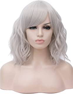 TopWigy Silvery Grey Cosplay Wig Medium Length Side Part Bang Curly Body Wave Colorful Synthetic Hair Replacement Wigs Costume Party Bob Women Full Women Wig (Grey 14