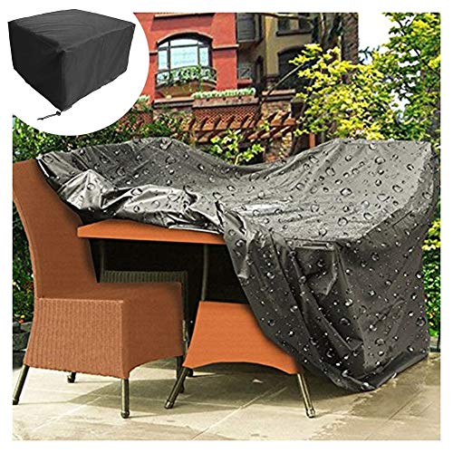 GZHENH-Rattan Furniture Covers ,Garden Table and Chair Cover Rainproof Fade Resistant Large Coverage Area Easy to Clean,20 Sizes (Color : Black, Size : 270x270x90CM)