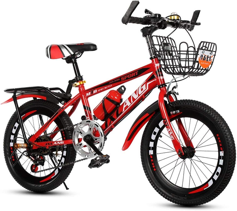 Kinderfahrrder Variabler Geschwindigkeitsfahrrad der Kinder Jungenmdchenfahrrad Studentenfahrrad Straenfahrrad mit Korbdesign (Farbe   rot(Variable Speed), Größe   22inches)