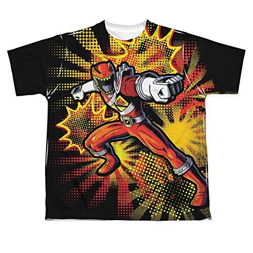 Power Rangers - Camiseta para niños con impresión frontal de Dino Charge Red Ranger