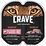 CRAVE Grain Free Adult High Protein Natural Soft Wet Cat Food Salmon Paté, (24) 2.6 oz. Twin-Pack Trays