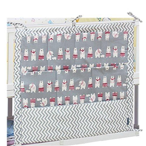 Vine Baby Kwekerij Organisator-Hangende Organizer voor Bed - Luierorganisator met grote zakken - Ruime opslagruimte houdt luiers en doekjes, crèmes en lotions - Handige toegang tot alle baby veranderen H