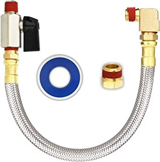 """Extended Tank Drain Valve Assembly Kit for Air Compressor, Including 10 Inches Braided Steel Hose 1/4 inch NPT, 1/4"""" to 3/..."""