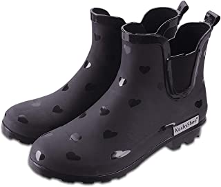 Womens Ankle Rain Boots, Matte and Light Rubber Elastic Rain Booties