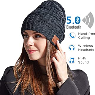 Bluetooth Beanie Hat,Bluetooth Headphones Sport Cap Hats,3D Stereo Bass More Than 6H Use Time Bluetooth 5.0 HD Call More Warm,for Man Woman