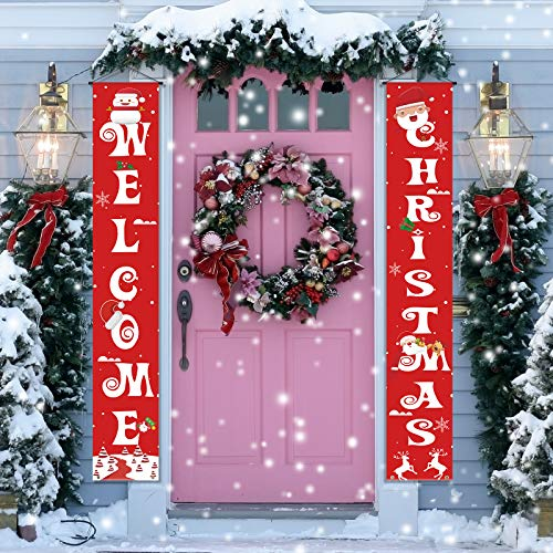 Vadeture Christmas Decorations Outdoor Christmas Porch Decorations, Welcome Banner Porch Signs for Home Front Door Fireplace Indoor Outdoor Xmas Holiday Party