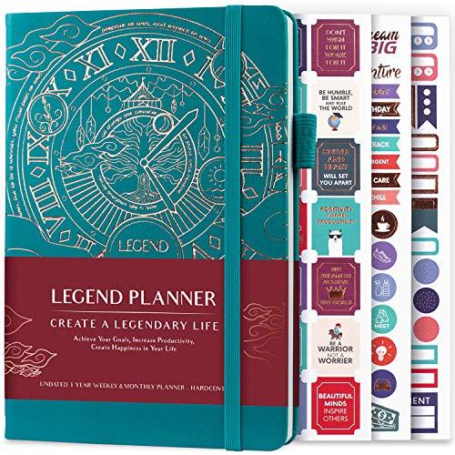Legend Planner - Migliore agenda settimanale e calendario mensile per aumentare la produttività, raggiungere obiettivi e gestione del tempo principale - A5, Senza date (Viridian)