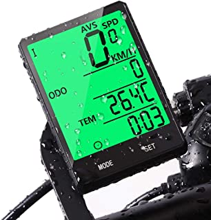 JGRZF Bike Computer Bicycle Wireless Wired Speedometer and Odometer Waterproof Backlight with Digital LCD Display for Outdoor Cycling and Fitness Multi Function Gifts for Bikers/Men/Women/Teens