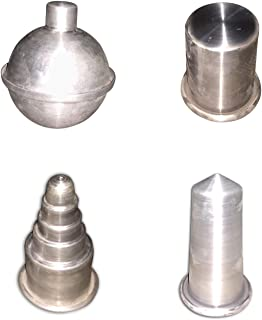 Prime Bakers and Moulders Aluminium Candle Making Moulds 4 Shapes- Ball, Bullet, Cake and Pillar.