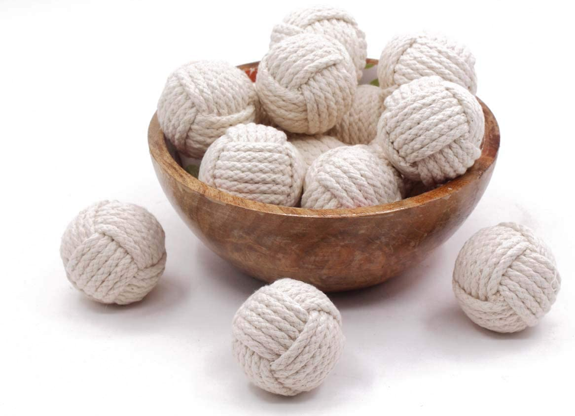 RII 6 Cotton Rope Balls/Nautical Balls/ Vase Filler/Living Room Décor/Decoration Balls Ornaments (Cotton)