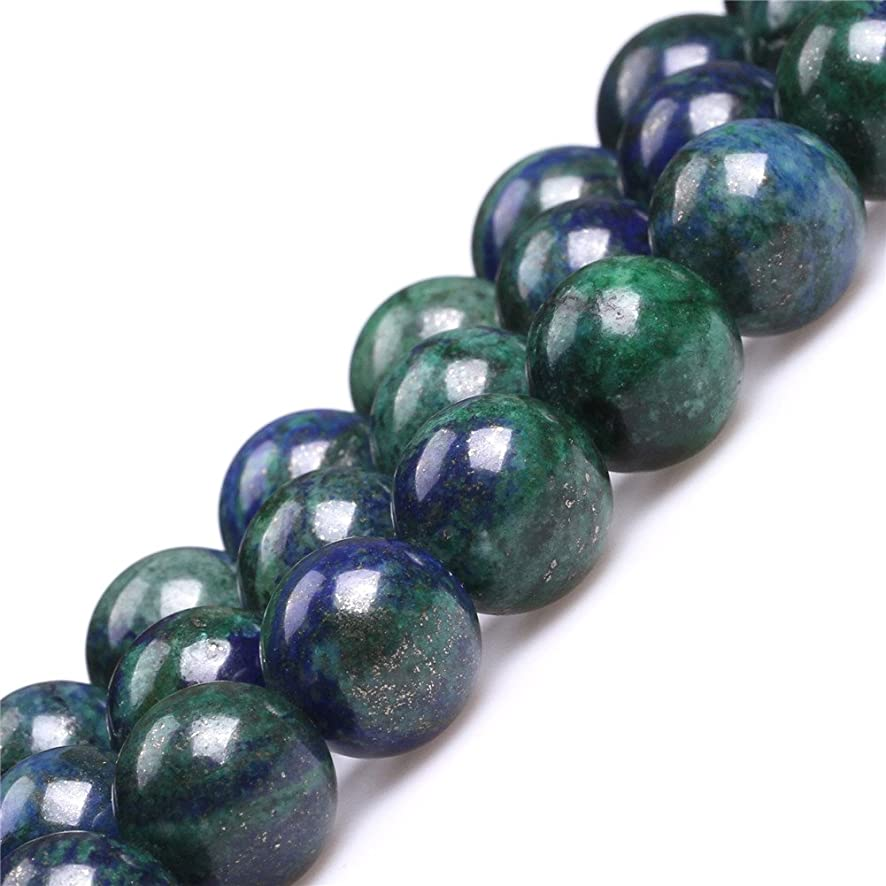 JOE FOREMAN 14mm Lapis Lazuli Malachite Semi Precious Gemstone Round Loose Beads for Jewelry Making DIY Handmade Craft Supplies 15