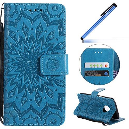 Ysimee Coque Motorola MOTO G5 Plus,Étui Portefeuille Magnétique en Cuir Fleur en Relief Folio Housse con Antichoc TPU Bumper Porte-Cartes Fonction Support Coque à Rabat pour Motorola MOTO G5 Plus,Bleu