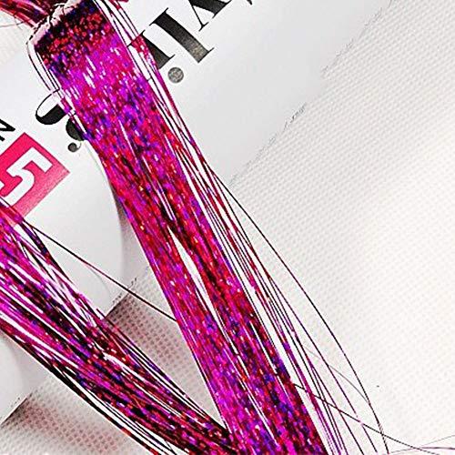 Pruik vrouwen haarverlengingen glitter styling vlecht party recht miniatuur Lametta ghlights haken lang holografische cosplay (rood) rozerood