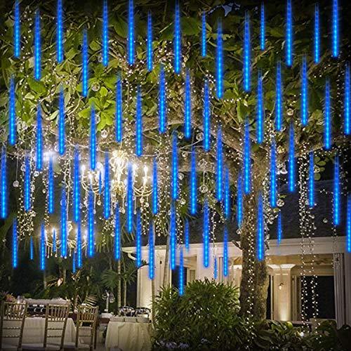 Meteorlichter Dusche Regenlichter LED Weihnachtslicht 192 LEDs 30cm 8 Röhren Wasserdicht Tropfen Eiszapfen fallen Regentropfen kaskadierende Lichter für Party Hochzeit Garten Weihnachtsbaum, blau