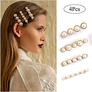 Women Girls Styling Pearl Hair Barrettes Gold Hair Clips Decorative Bobby Pins Ladies Fashion Bridal Hair Accessories Headpieces for Wedding Set 4pcs Large
