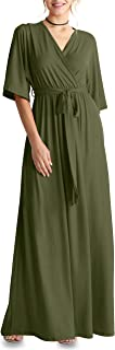 Flowy Long Maxi Wrap Dresses for Women with Tie Belt Plus Size and Reg. - Made in USA