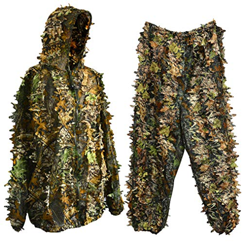 Bantoye Ghillie Hunting Suit, Breathable Camouflage Lightweight Clothing Suits Cosplay Woodland Clothing for Halloween Cosplay, Jungle Hunting,Shooting, Airsoft