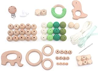 Teething Kit Baby Wooden Beads Rings Supplies, Make Your Own Baby Chew Jewelry, DIY Teether Necklace, 61pcs, Green