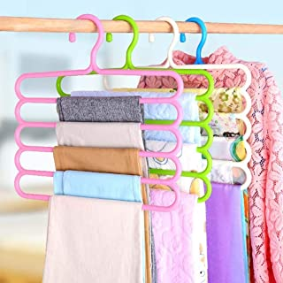 INOVERA (LABEL) 5 Layer Pants Clothes Hanger Wardrobe Storage Organizer Rack (Set of 4), 32l x 1b x 33h cm (Assorted Colour)