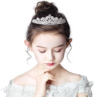 RKY Ragazze Corona, Corona Copricapo Parte Superiore delle Ragazze di Cristallo d'Argento Sophia Ragazza Flower Girl Dress...