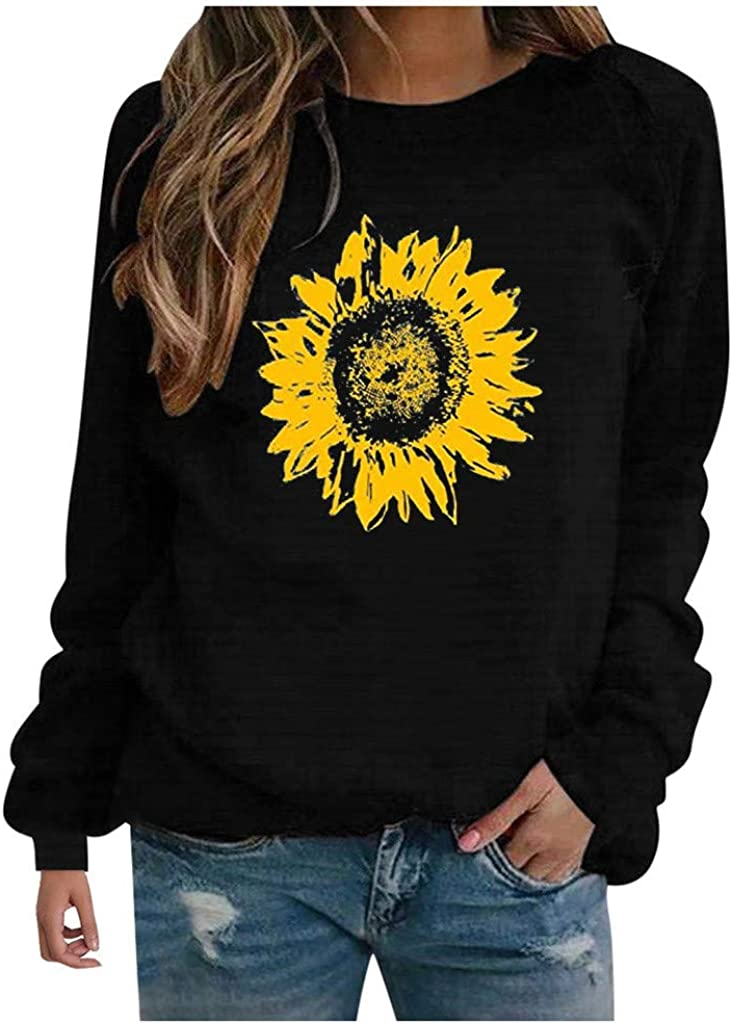 Masbird Fall Clothes for Women, Womens Long Sleeve Crew Neck Sunflower Printed Tops Casual Plus Size Loose T Shirts