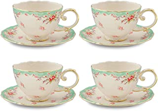 Gracie China by Coastline Imports FD157G-4 Green Gracie China Vintage Rose Porcelain 7-Ounce Tea Cup and Saucer Set of 4, 7 oz