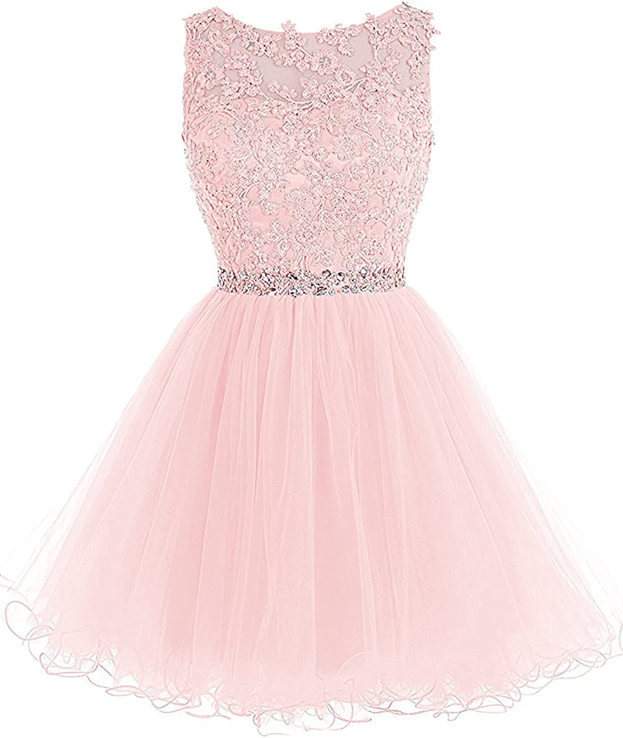 FTBY Womens Scoop Open Back Beads Short Homecoming Dress Tulle With Appliques Plus