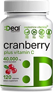 Deal Supplement Cranberry Fruit Concentrate 100:1- Equals to 40,000 mg Fresh Cranberries- Fortified with Vitamin C, 120 Capsules, Cleanse & Protect Urinary Tract, Immune Booster - 3 Months Supply