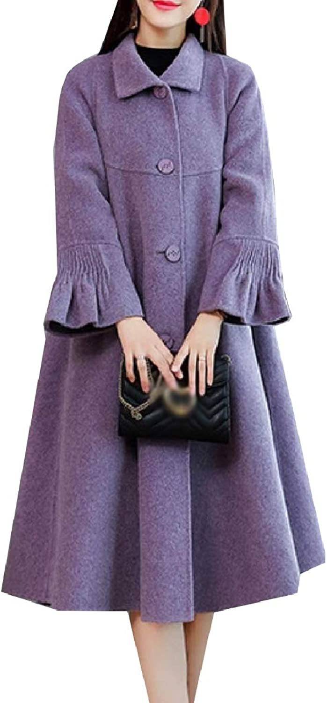 Winme Women Woolen Trench Coat Baggy Style Button Poncho Flounced Jacket