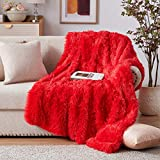 NexHome Soft Red Faux Fur Blanket Throw Blanket 50' x 60', Fluffy Cozy Luxury Sofa Couch Bed Chair Photo Props Faux Fur Decorative Blankets for All Season Use