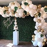 DanLink Juego de guirnalda de globos blancos dorados, juego de globos blancos, globos de confeti dorado y hojas de palma, globos blancos dorados para decoración rústica de boda, fiesta tropical