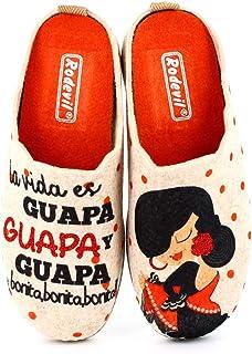 Zapatillas Fieltro Estar por casa cómodas Mujer. Sevillana, Frase Bonita