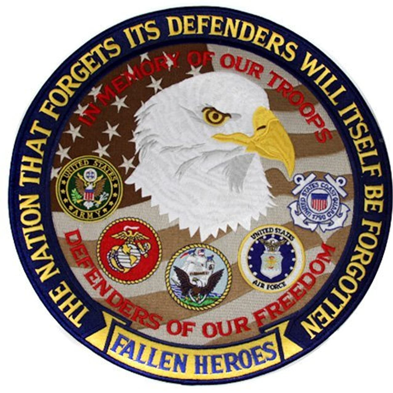 Fallen Heroes Patch Military Freedom Defender Iron on 12