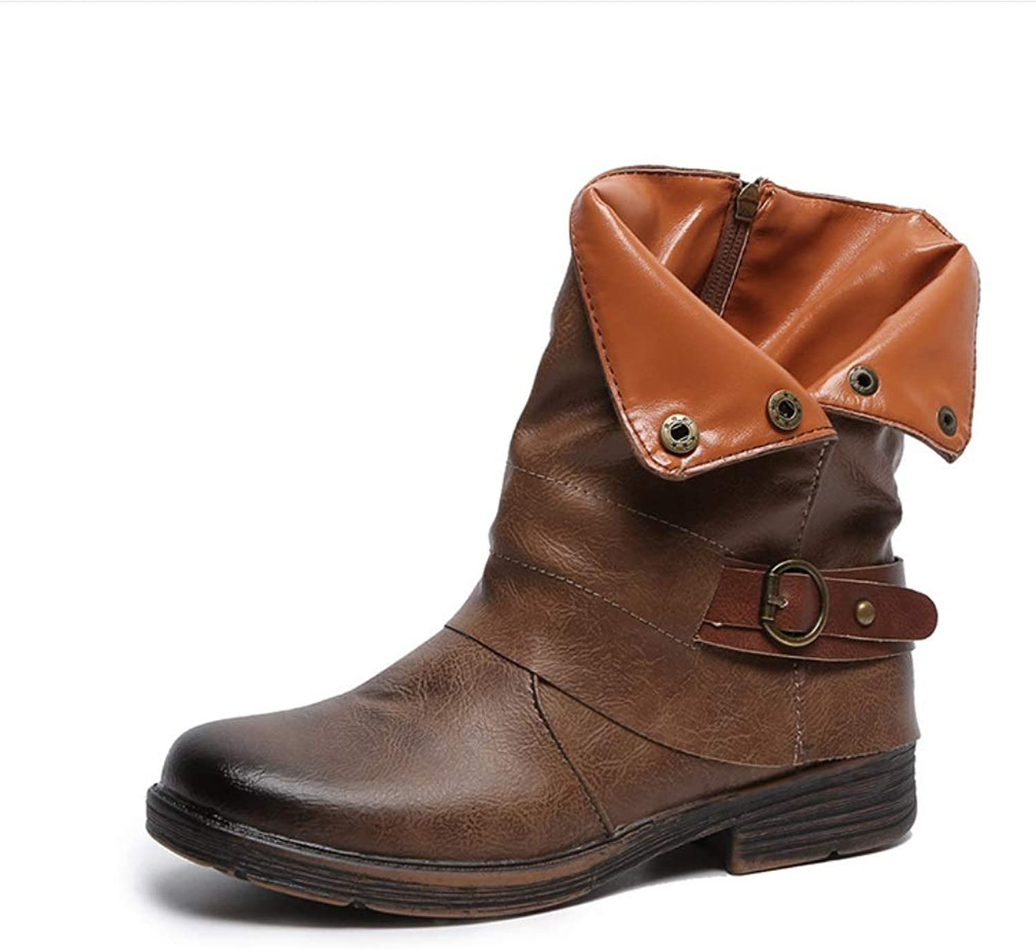 Women Bikes Calf Boots Casual Boots Grip Sole Lady Autumn Winter Army Transer Combat Boots Buckle Artificial Leather Low Heel shoes (UK Size 3-8)