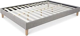 Homestyle4u 1982 Cadre de lit double rembourré avec sommier à lattes Style futon Gris 160 x 200 cm