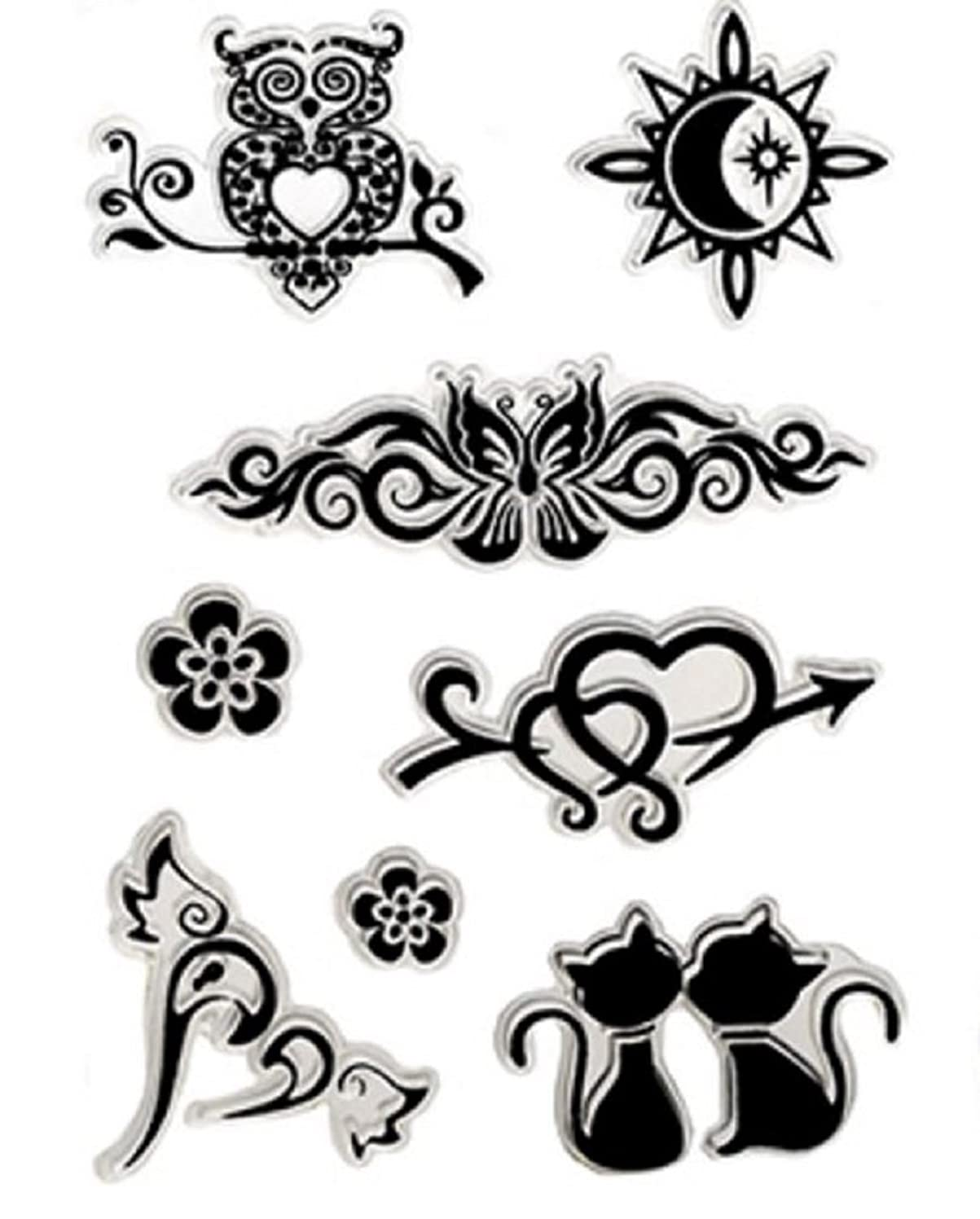 Forever in Time Clear Cling Rubber Stamp Ink Art Owl Sun Kittens Love Heart
