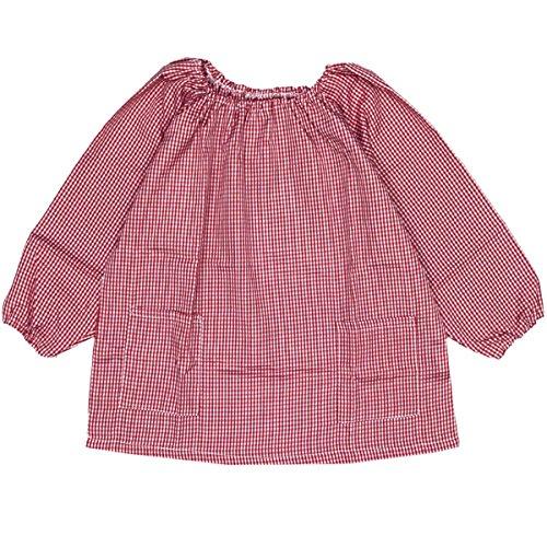 アスナロ(エプロン) スモック 園児 学校 子供 キッズ ギンガムチェック柄 給食衣140 ギンガム-赤