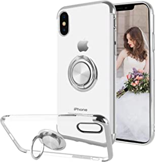 Ownest Compatible with iPhone Xs Case (2018)/iPhone X Case (2017) with Built-in 360 Rotatable Ring Kickstand Fit Magnetic Car Mount and Clear Slim TPU Protective for iPhone Xs/iPhone X-(Silver-2)