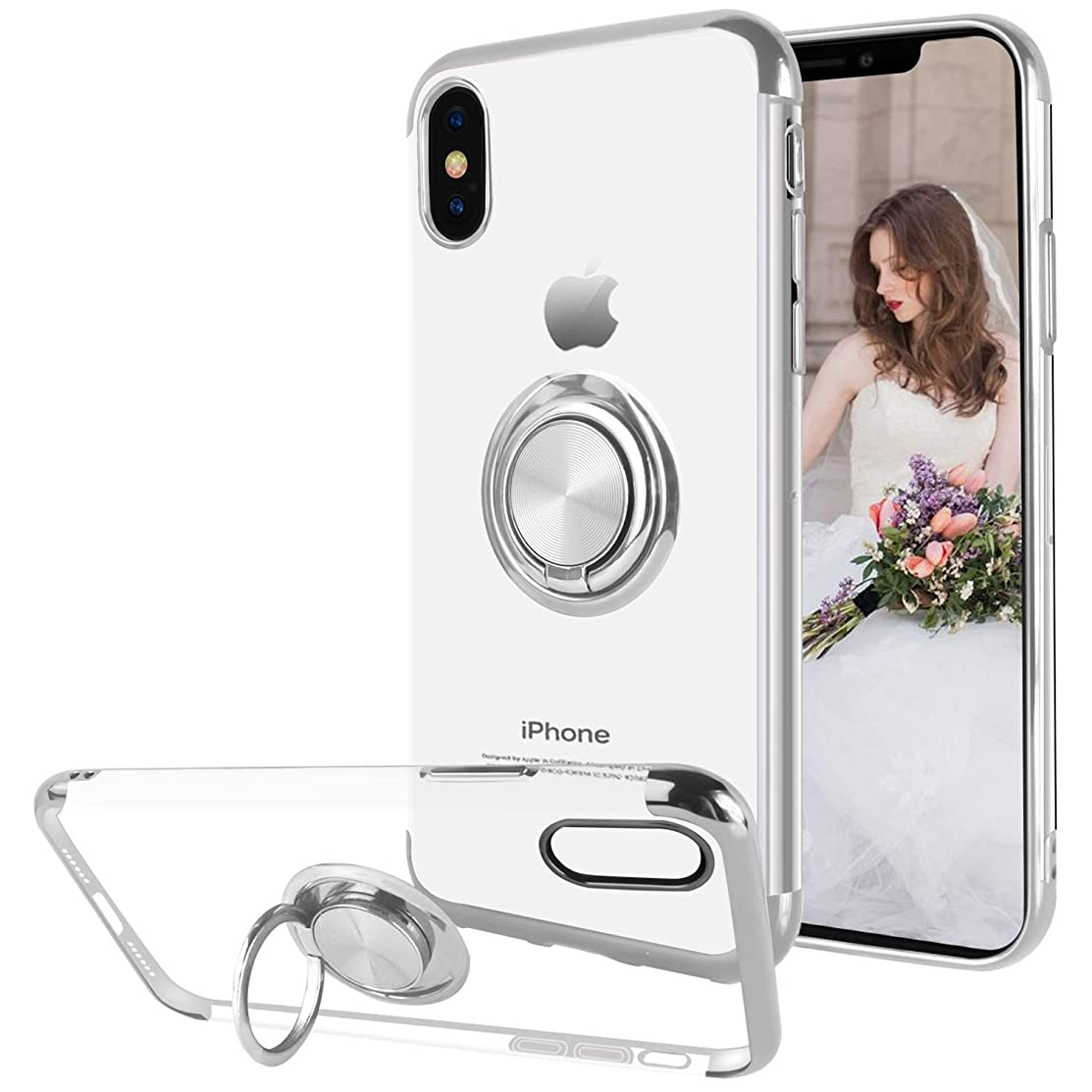 Ownest Compatible with iPhone Xs Case (2018)/iPhone X Case (2017) with Built-in 360 Rotatable Ring Kickstand Fit Magnetic Car Mount and Clear Slim TPU Protective for iPhone Xs/iPhone X-Silver