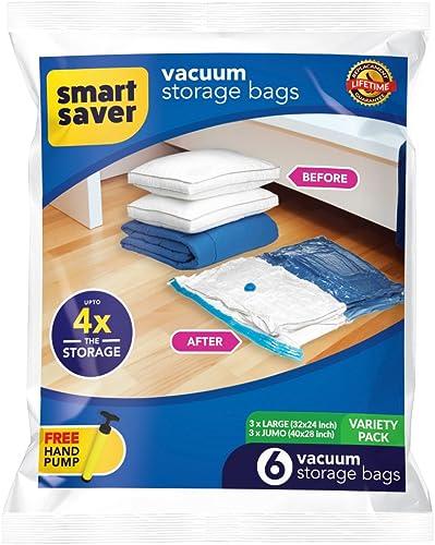 Smart Saver Vacuum Storage Ziplock Bags for Travel - Pack of 6 Variety (3XJUMBO. 3XLARGE)