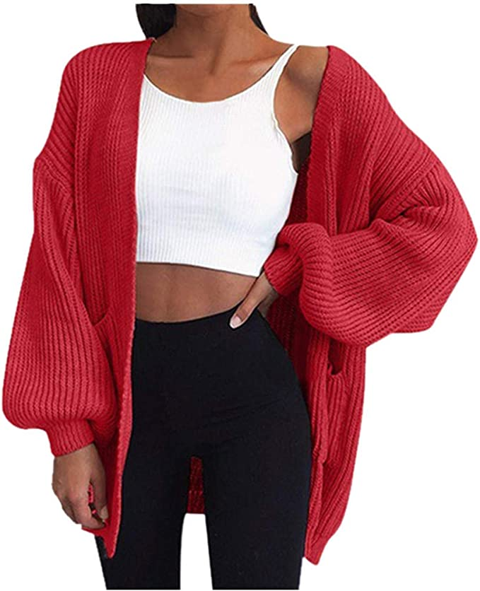 Winter Warm Coats Girls Solid Women Long Knitted Sweater Hooded Tops Cardigan Leisure Jacket Outerwear by Lataw