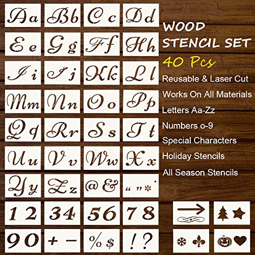 Vantic Letter Stencils Reusable, Stencils for Painting on Wood, Stencils Calligraphy Font Upper and Lowercase for Art, Craft, Signage and Drawing (40Pcs)