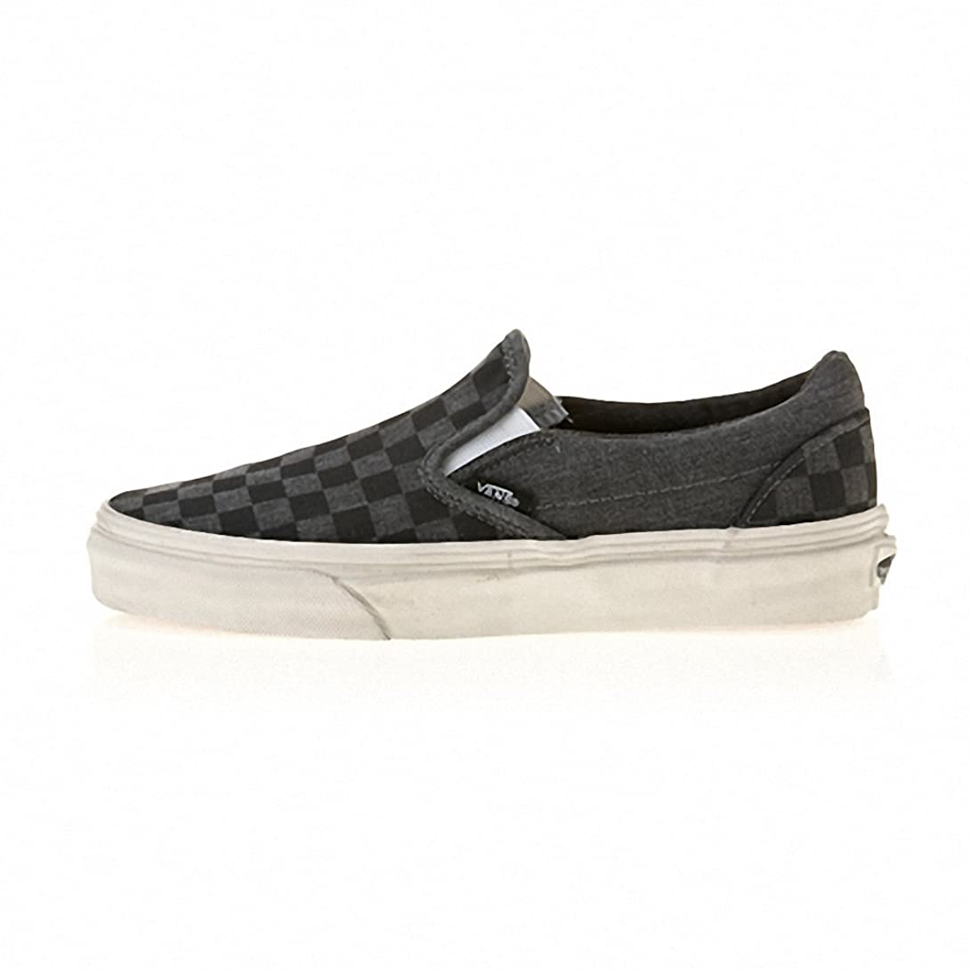 避けるズーム矛盾[バンズ] CLASSIC SLIP-ON VN-0ZMRFIX (OVERWASHED) BLACK/CHECKER (並行輸入品)