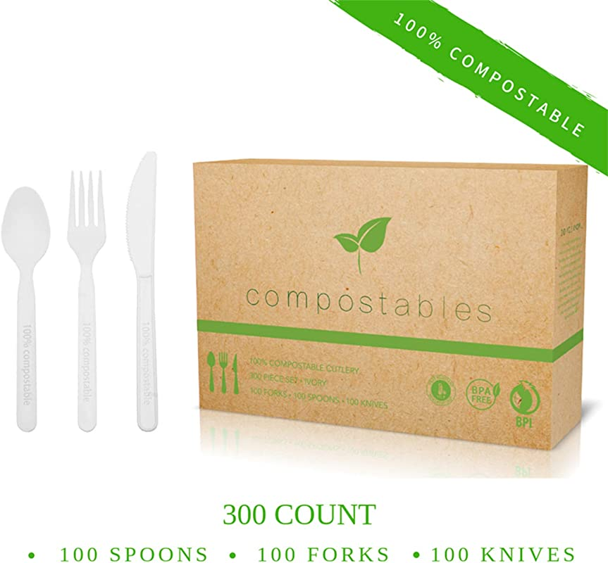100 Eco Friendly Compostable Cutlery Set 300 Pieces 100 Forks 100 Spoons 100 Knives Durable Disposable Utensils Made From Renewable Plant Based Resources